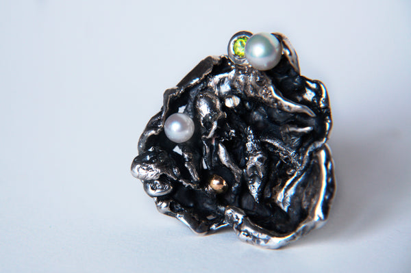 Silver Ring with Gold,  Peridot and Pearls by Karolin Ohlsson