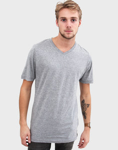 Fitted Fit - V-Neck , Oxford Grå T-shirt - ACC Store