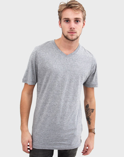 Fitted Fit - V-Neck , Oxford Grå