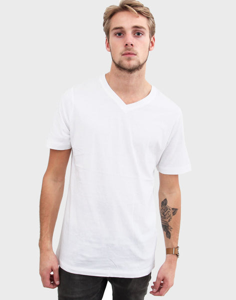Fitted Fit - V-Neck , Hvid