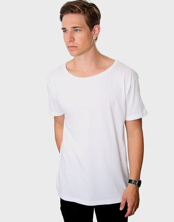 Tailored Fit - Torn Crew Neck, Hvid