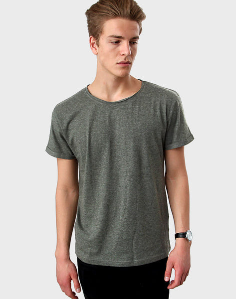 Regular Fit - Torn Crew Neck, Heather Green