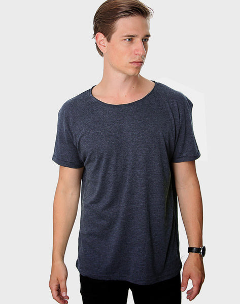 Regular Fit - Torn Crew Neck, Heather Navy