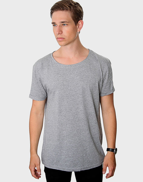 Tailored Fit - Torn Crew Neck, Oxford Grå