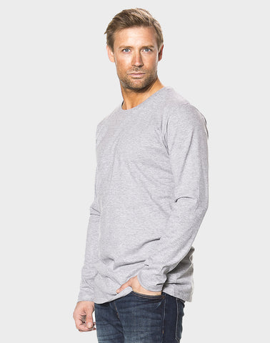 Fitted Fit - Modern Crew Neck LS, Oxford Grå T-shirt - ACC Store
