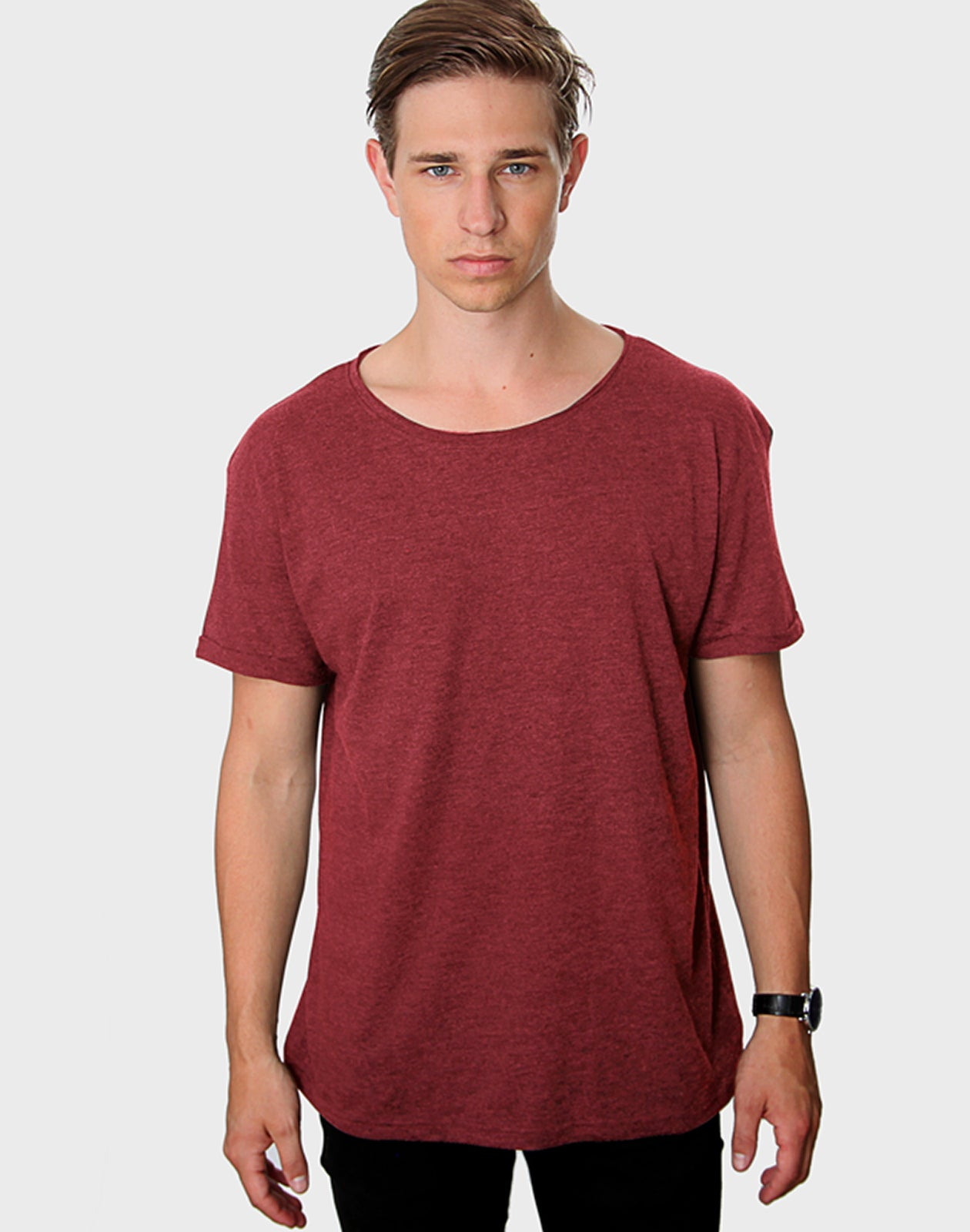 Tailored Fit - Torn Crew Neck, Heather Bordeaux