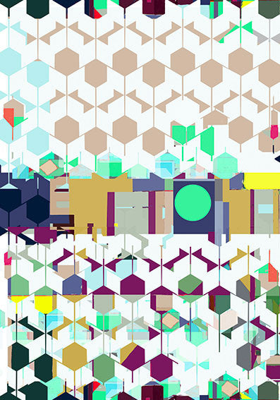 "Silk/Cotton ""Landscape of Hexagons"" Stola 200x140cm"