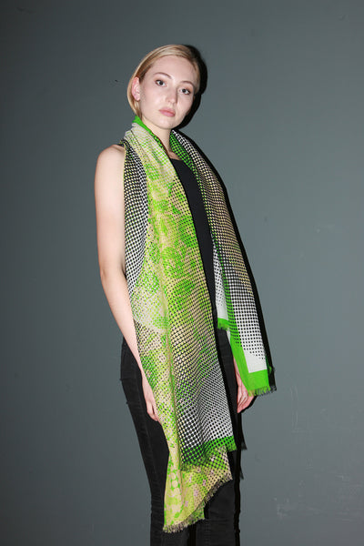 "Silk/Cotton ""Organic Shapes III / Vibrant Green"" Stola 200x140cm"