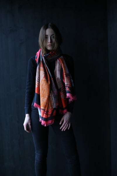 "Silk/Cotton ""Highline meets Highland"" Stola 200x140cm"