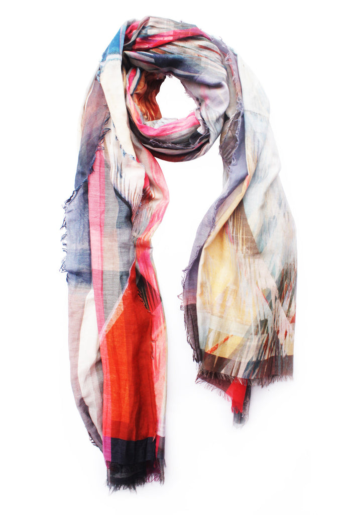 "Silk/Cotton ""All Over Fringes"" Stola 200cm x140cm"