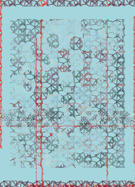 "Silk/Cotton ""Red Line Crystals"" Stola 200x140cm"