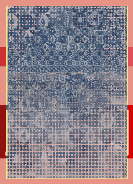 "Silk/Cotton ""Circular Tiles /Blue"" Stola 200x140cm"