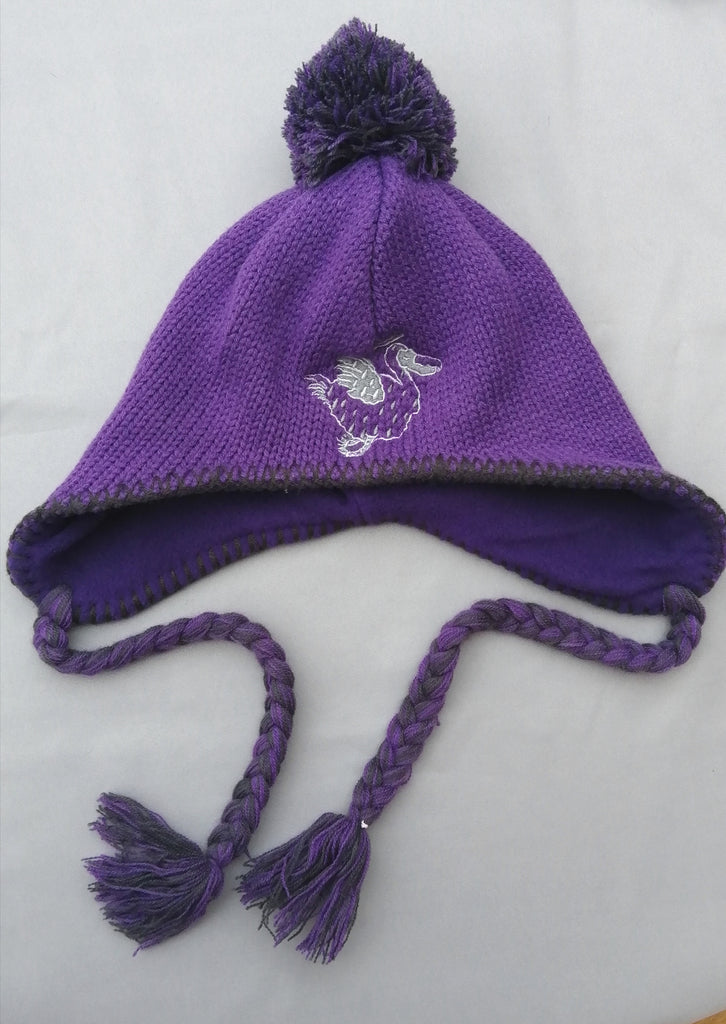 Purple pompom hat with tassles