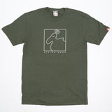 Men's Organic Cotton 'Square Dodo' T-Shirt - Lentil Green - Flying Dodo Clothing Company Cornwall