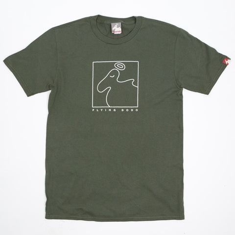 Men's Organic Cotton Square Dodo T-Shirt - Lentil Green - Flying Dodo Clothing Company Cornwall