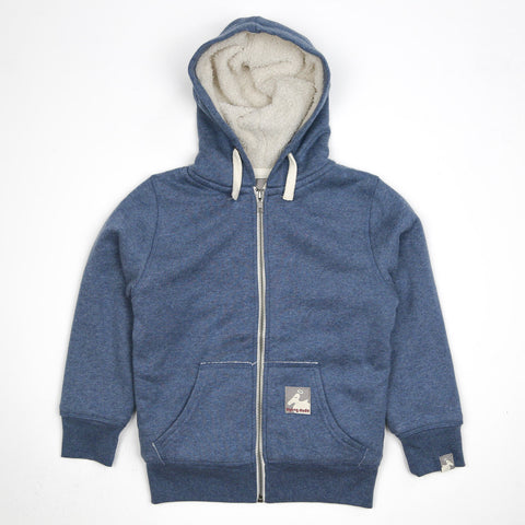 Boy's Fleece Lined Shepard Zip Hoodie - Heather Blue - Flying Dodo Clothing Company Cornwall