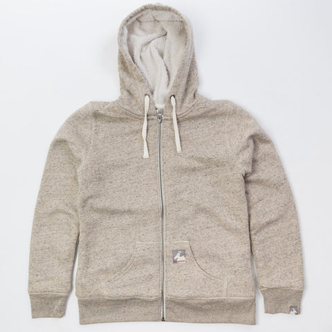 Women's Fleece Lined Shepard Zip Hoodie - Sand Heather - Flying Dodo Clothing Company Cornwall