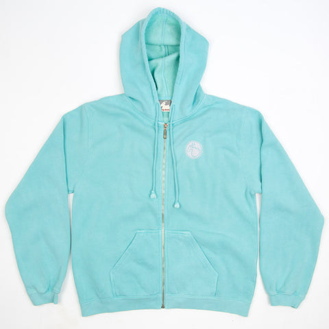 Women's Stamp Dodo Zip Up Hoodie - Mint - Flying Dodo Clothing Company Cornwall