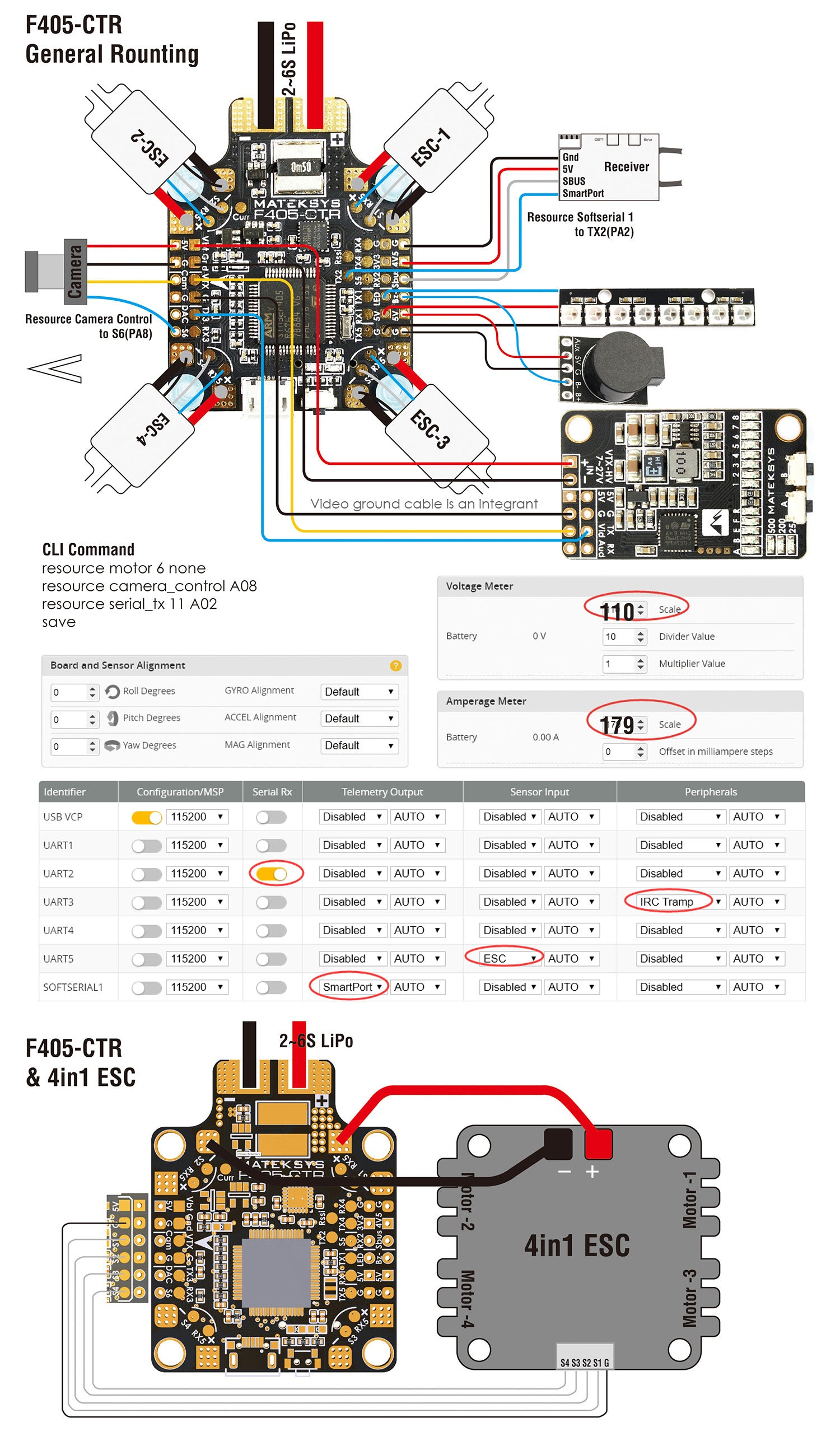 matek f405-ctr flight controller wiring and configuration diagram