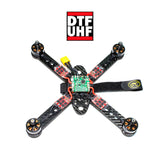 DTFc Flight Controller mounted to a frame with ESC and Battery leads connected as an example.
