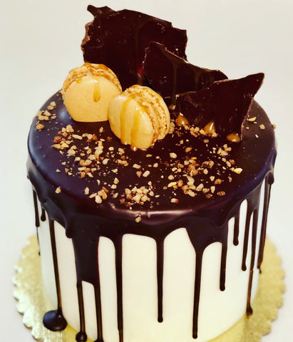 Dripping Chocolate & Macarons Custom Cake