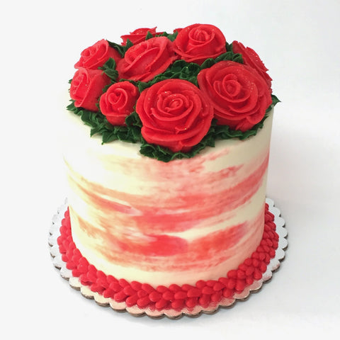 Valentine's Day Red Roses Custom Cake