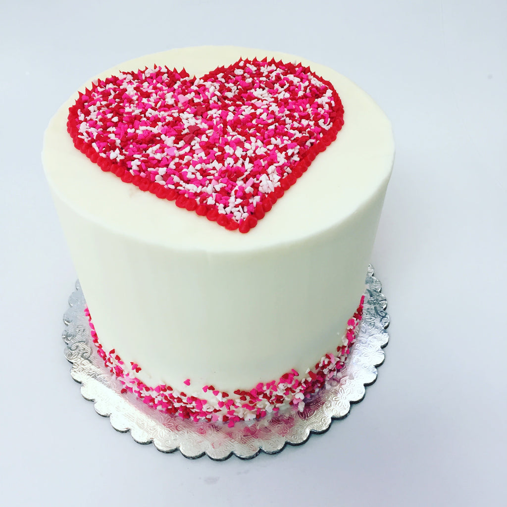 Valentine's Day Sprinkle Heart Custom Cake