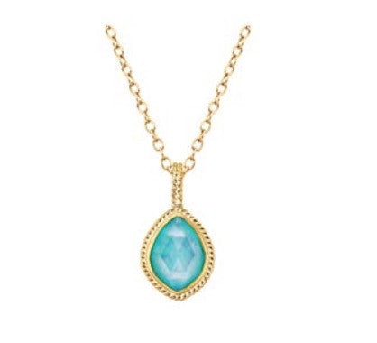 Anna Beck Turquoise Almond Pendant - Gold 1428ngg