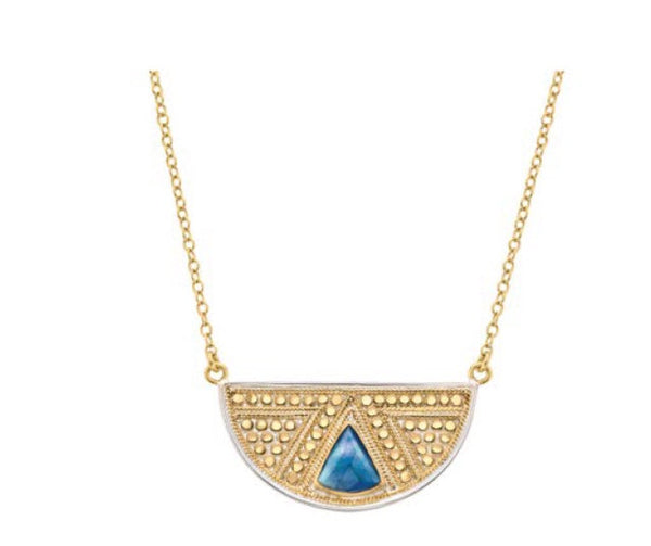 Anna Beck Lapis Half Moon Necklace - Gold