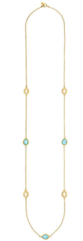Anna Beck Turquoise Long Multi Disc Necklace Gold
