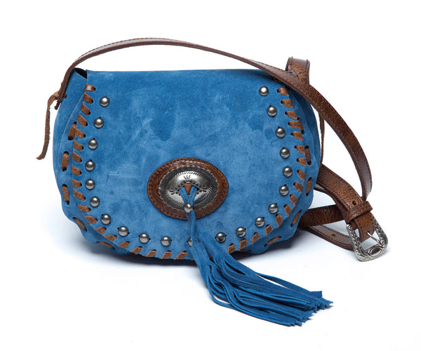 Laggo Marco Denim Suede Purse - Blue