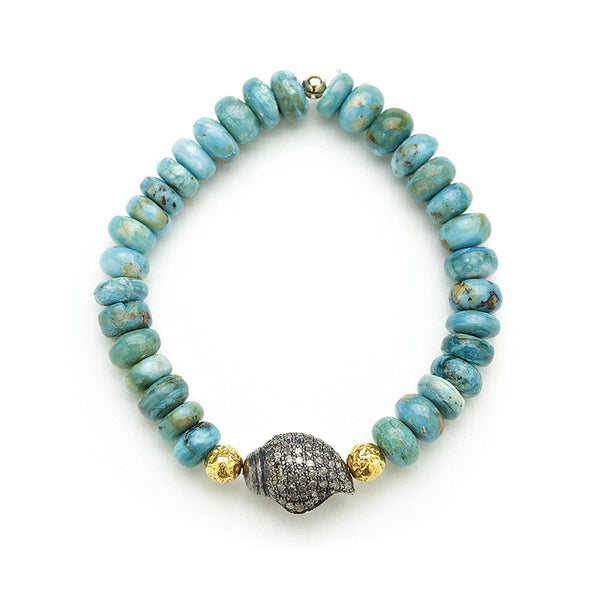 Hayley Style Amazonite Diamond Shell Bracelet