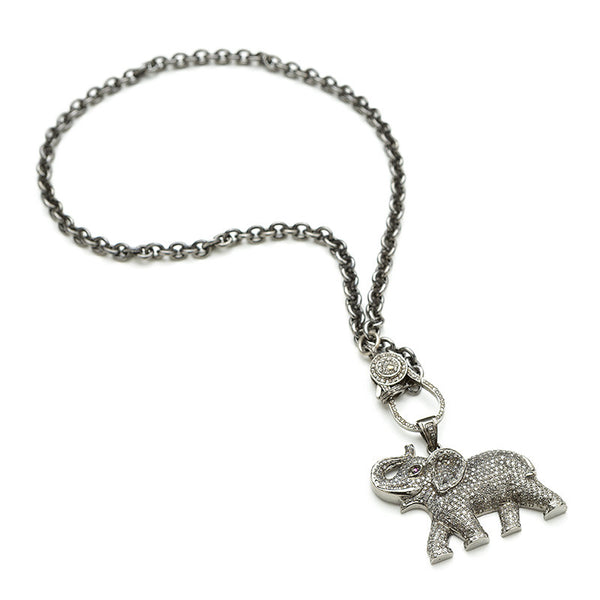 Hayley Style Silver Chain & Diamond Elephant
