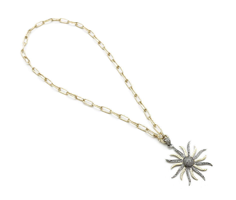 Hayley Style 14K Gold Chain & Diamond Sun Pendant