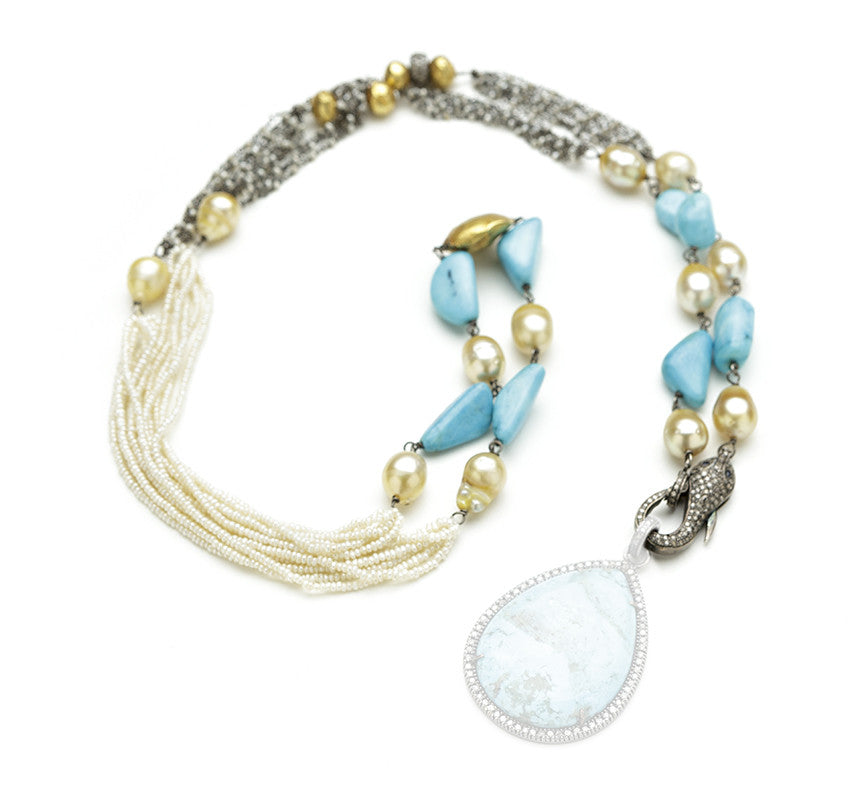 Hayley Pearl Turquoise Snake Clasp