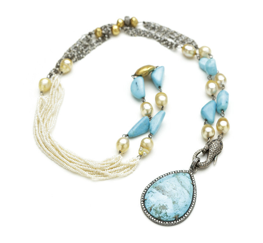 Hayley Pearl Turquoise Snake Clasp & Turquoise Diamond Pendant