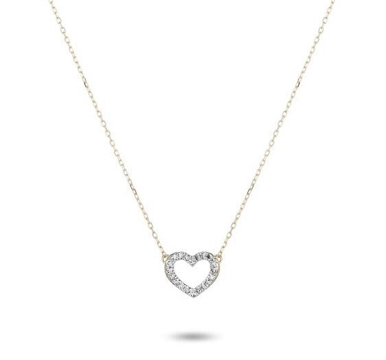 Adina Reyter pave open folded heart necklace - Y14