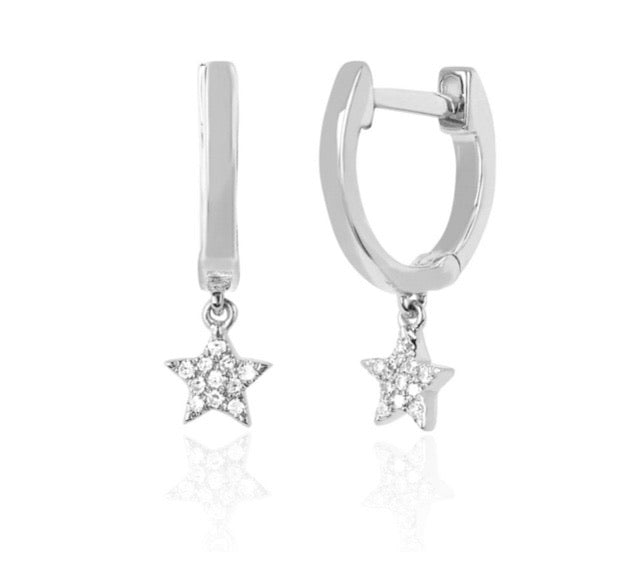 Ef Collection 14 k white gold mini huggie w diamond star drop earrings