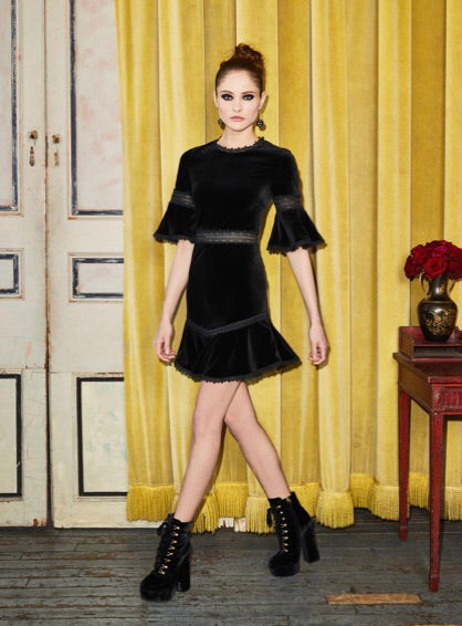 Alice and Olivia Doloris black lace and velvet dress