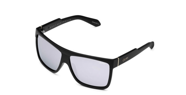 Quay Barnun sunglasses- shiny black/ silver polarize