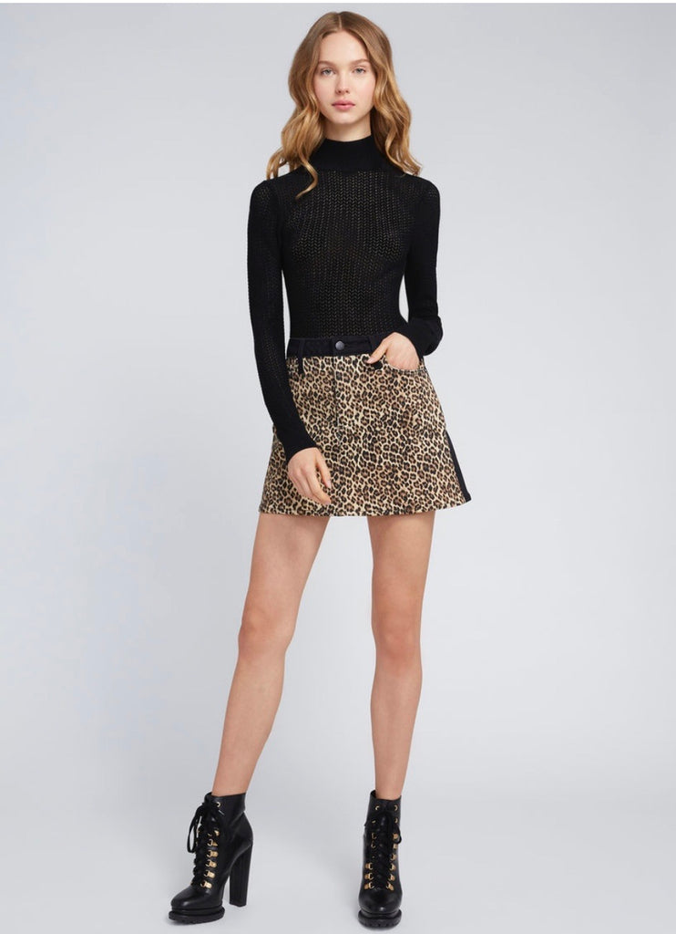 Alice + Olivia Good High Rise leopard mini skirt