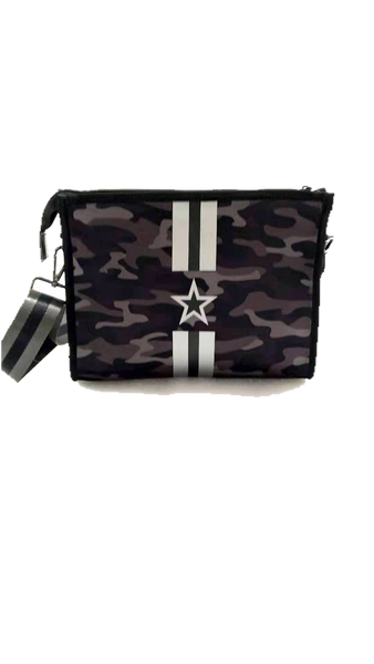 Haute Shore Mark Crossbody- True bk camo/ gunmetal and black stripe star