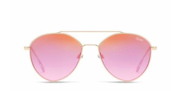Quay Dragonfly matte gold pink sunglasses