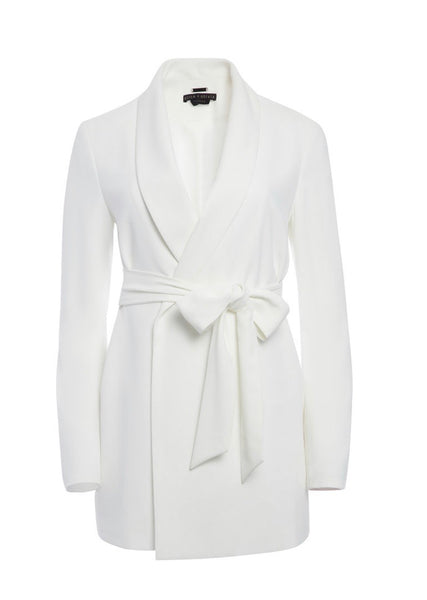 Alice + Olivia Wheaton collar wrap off white blazer
