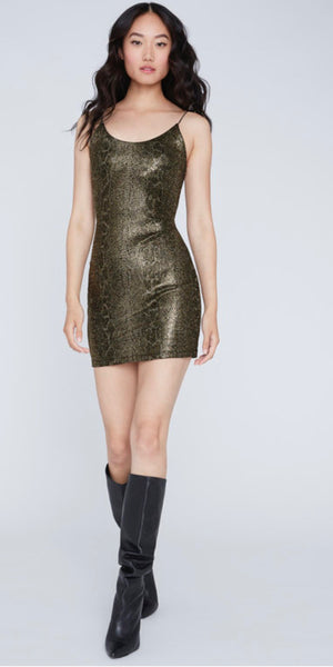 Alice+Olivia Delora spaghetti mini gold snake  dress
