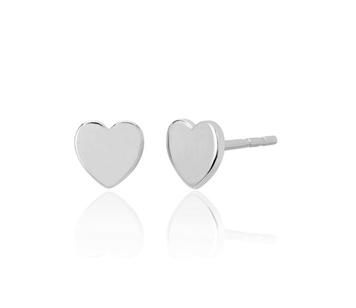 Ef collection 14 k white gold heart studs pair