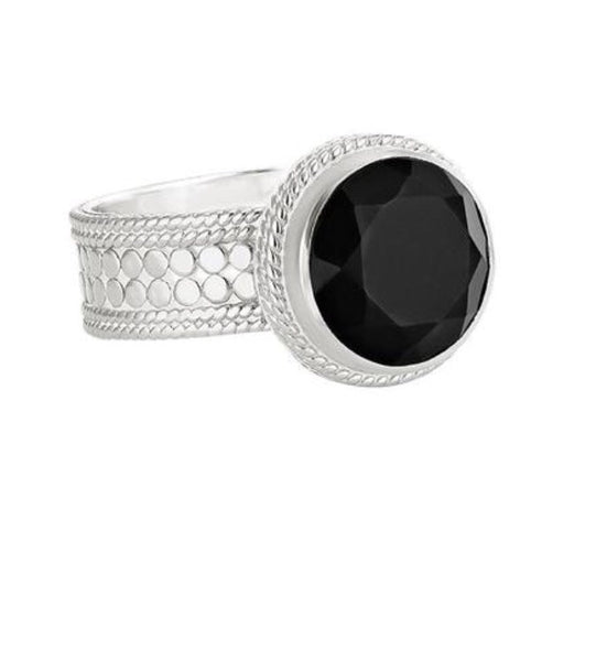 Anna Beck Black Onyx Circle Ring Silver
