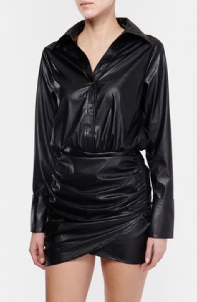 Ramy Brook Sadie Black faux Leather Dress