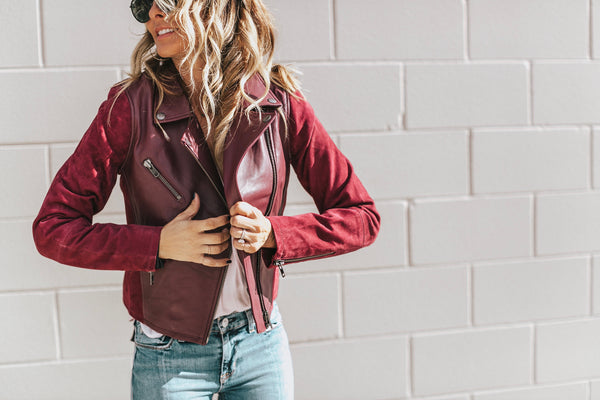Michael Stars classic Moto jacket Pinot leather and suede