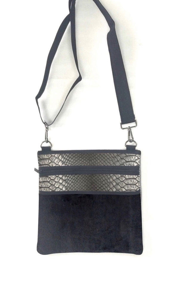 Haute Shore Peyton Crossbody- black croc glam velvet